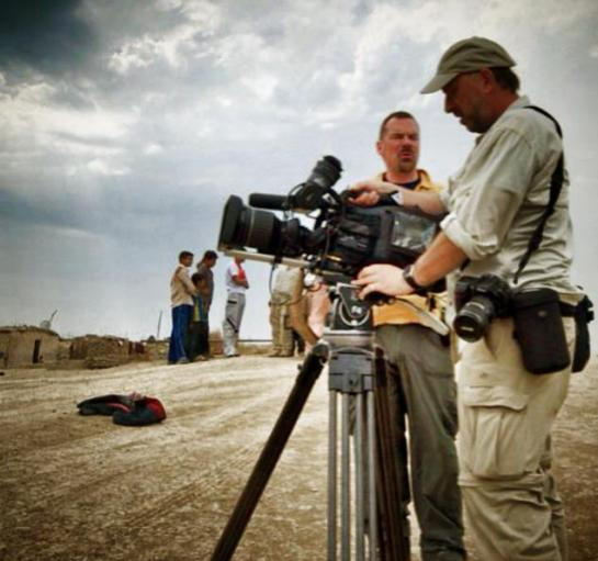 Steve Foote filming a  Wild-life Documentary in Iraq.