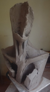 Clay armature for a bust, aug 2014