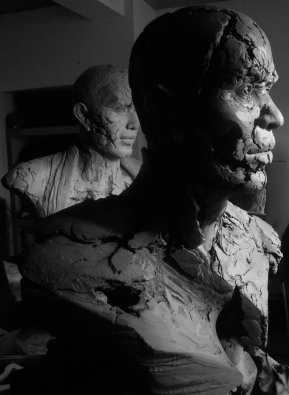 Busts in progress, Aug 2014.