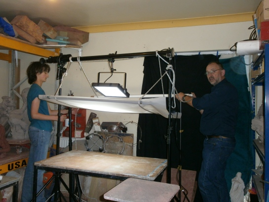 Stephen Foote, Cameraman and Photographer at Osprey Studios with Leon.