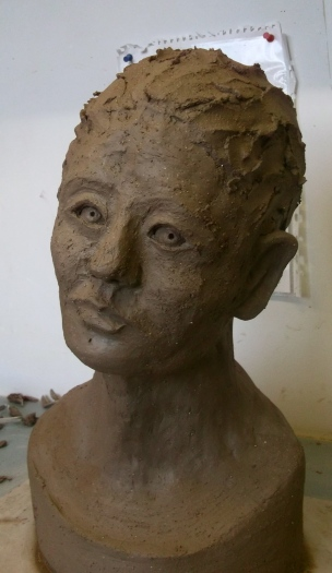 Mary Cousins finished her head back in her own Studio. She has named her Butterfly.