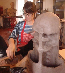 Block out the skull using thin slabs attached to the armature.