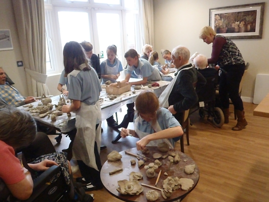 Primary School children visiting the Care home for lovely afternoon of creative fun with Residents and carers. There was lots of singing, laughter and sharing. The residents lit up and the children were relaxed, charming and really enjoyed supporting their elders.