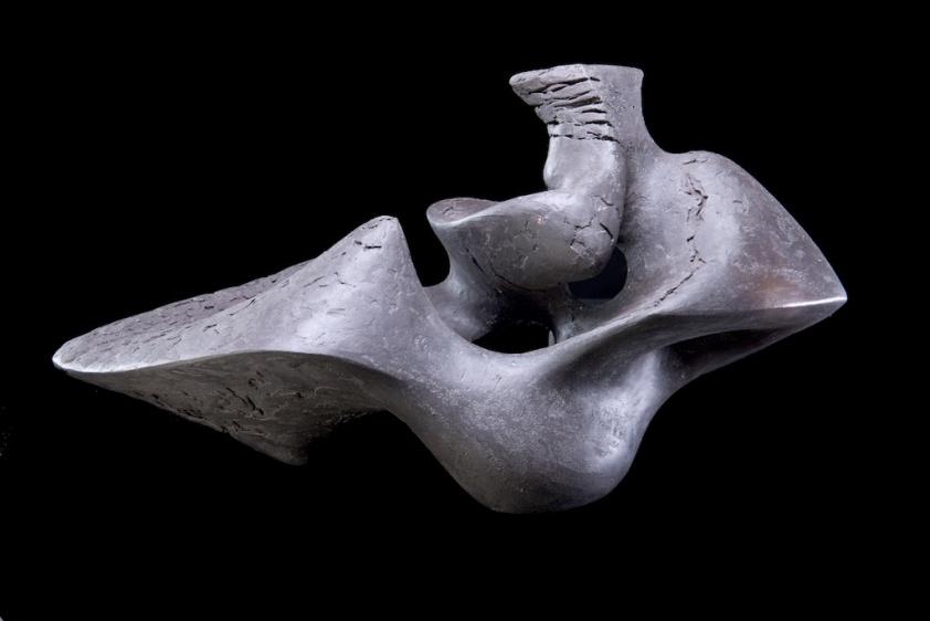 Wyvern V, 2015, 27cm H x 51cm L x 25cm D, black ceramic.