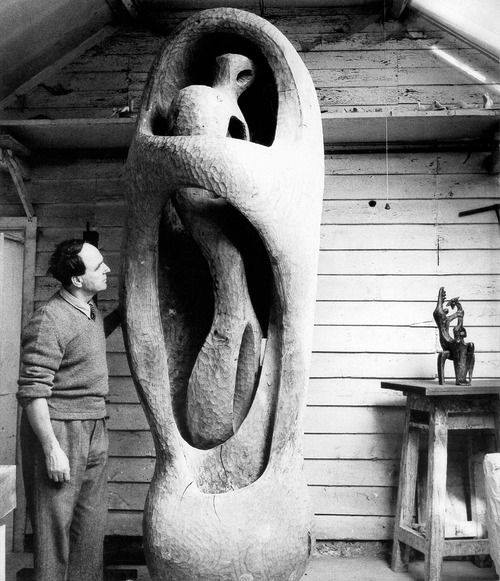 Henry Moore at work.