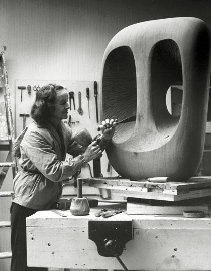 Barbara Hepworth at work.