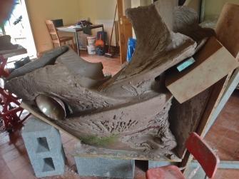 Mynydd Mawr Courtyard Sculpture, Tumble, Carmarthen, Wales, 2m H x 190cm W.