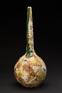 Kirk Mangus  Aurum  , 1984 Stoneware, colored slips, salt glazed 17 x 7.5 x 7.5 inches 43.2 x 19.1 x 19.1 cm KMg 5