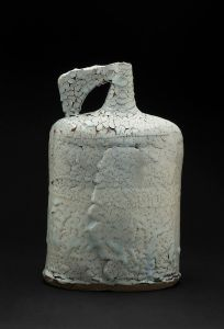 Jane Wheeler  Black Ice Flagon  , 2013 Stoneware clay with chun glaze, slab built 14.75 x 9.45 x 6.5 inches 37.5 x 24 x 16.5 cm JWh 3