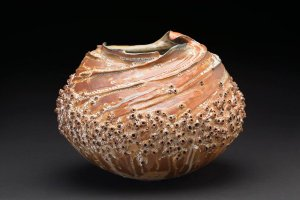 Melanie Ferguson  Circles In The Sand  , 2014 Handbuilt stoneware, sgraffito, flashing slips, oxide stains, celedon liner. Soda fired, heavy reduction 11 x 12.5 x 10 inches 27.9 x 31.8 x 25.4 cm MFe 25