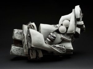 Rafa Perez  Untitled  , 2012 Porcelain and stoneware, fired at 1150 degrees 19.69 x 13.39 x 10.24 inches 50 x 34 x 26 cm RPe 25